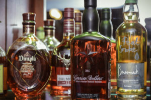 Wide selection of whiskeys and gins